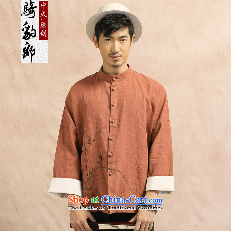 Jockeys Leopard Tang Dynasty who long-sleeved jacket linen men casual Chinese Han-cotton linen clothes hand-painted Chinese tunic China wind men designer brands wine red聽XXL