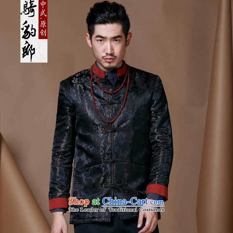 Jockeys Leopard Tang Dynasty who male wedding dress new autumn boxed long-sleeved shirt Chinese leisure jacket China wind men designer brands燲XXL black