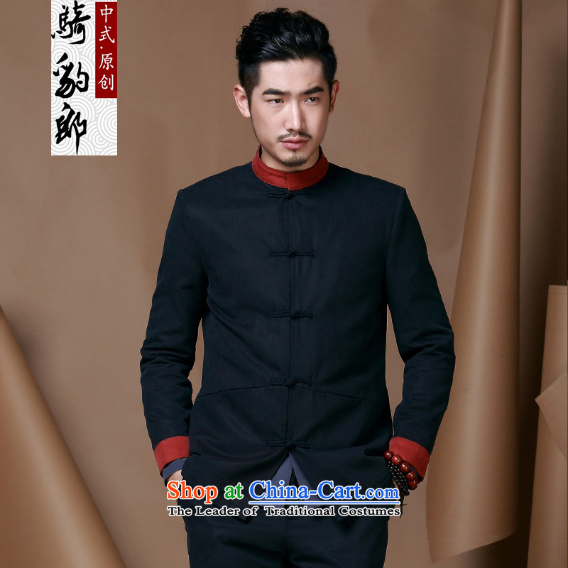 Jockeys Leopard health jacket men Tang dynasty autumn and winter new Chinese collar long-sleeved improved Han-festive Chinese tunic China wind men designer brands dark blue?L