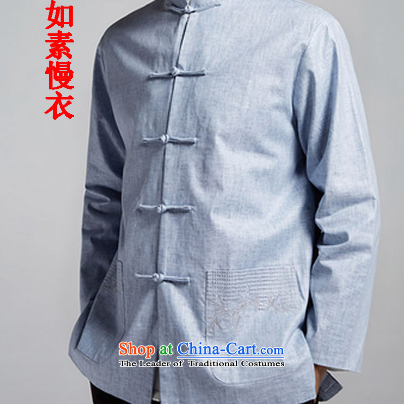 If so slow Yi New 2015 cotton linen, young and middle-aged men Tang dynasty single layer jacket, blue 2859 55 low L