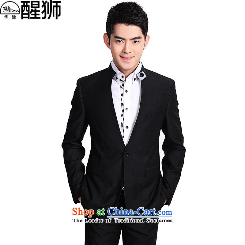 Hua Yu Lion Chinese tunic Men's Mock-Neck New suits suit 2015 is business casual Tang dynasty men Han-black�175/L