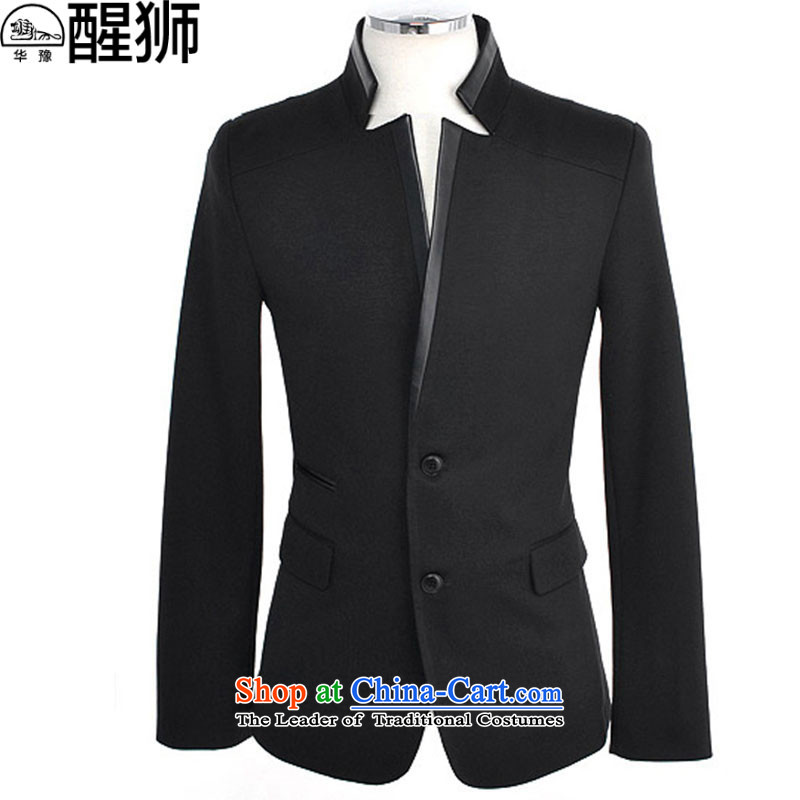 Hua Yu Lion Chinese tunic collar leisure suit male Korean small jacket Sau San Tong replacing men 185/XXL black