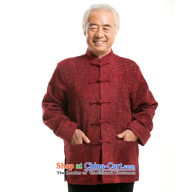 Thre line autumn and winter and new jacquard long-sleeved jacket Tang National wind in older collar disc detained jacquard chenille Tang dynasty F0716 Red Winter load dad)?XXXL/190
