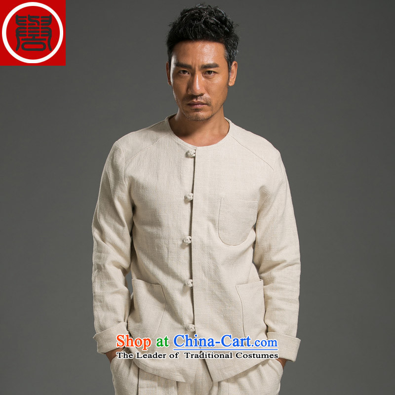 Renowned China wind men's shirts Long-Sleeve Shirt Kung Fu Man Kit Chinese round-neck collar cotton linen Sau San simplicity of ethnic聽XXXL Light Yellow