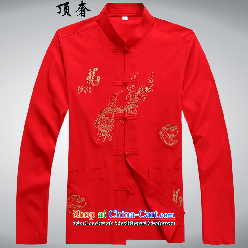 Top Luxury Tang dynasty, male long-sleeved thin men's jackets聽2014 new hands-free ironing Tang dynasty white long-sleeved T-shirt collar men red_聽XL_175 Tang