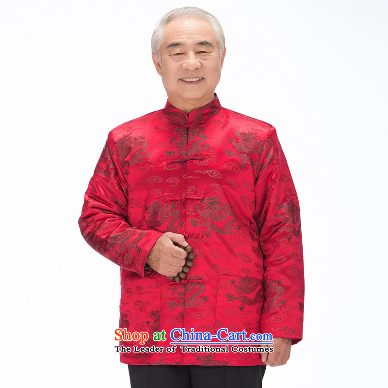 By order of the thre Bosnia and, in particular, the elderly in the autumn and winter recommended thick Tang Dynasty Chinese Cheung Woon cotton jacket men father replacing燜0789爓ine red ground black dragon燲XL_185
