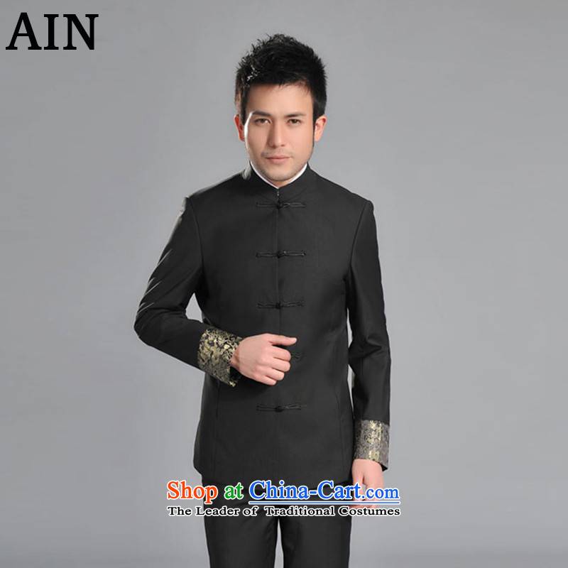 Tsing Yu Sau San men Wearing Tang Dynasty Chinese dragon tattoo cuffs men-collar jacket students Sau San?JY1621 replacing?black Tang blouses?L