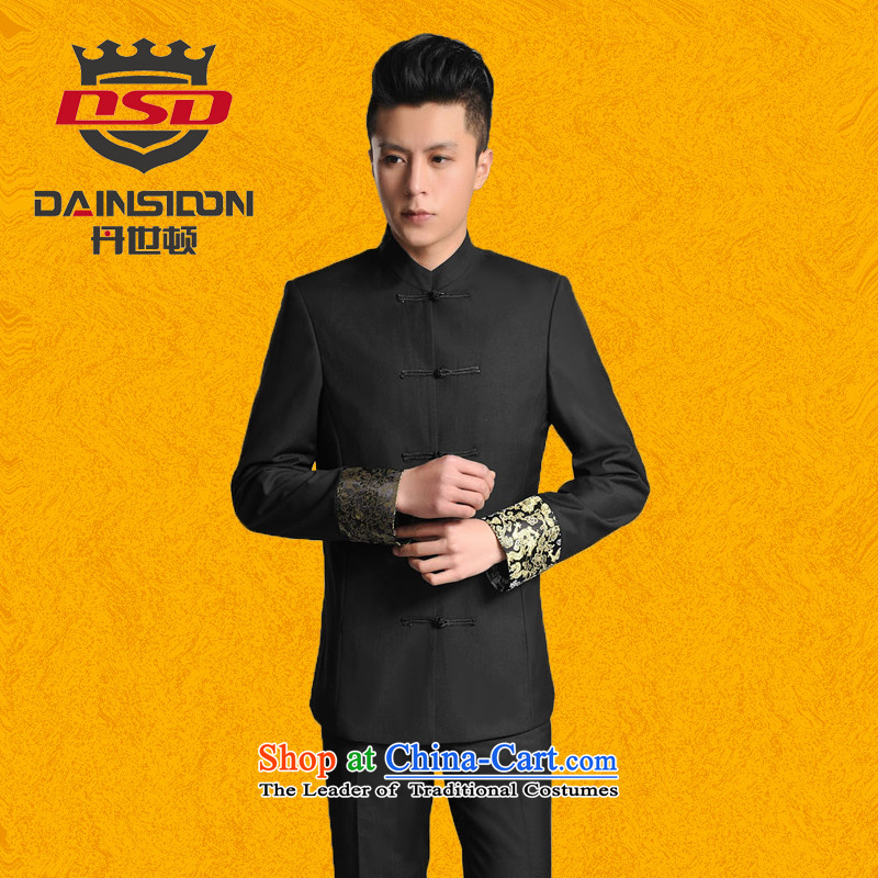 Dan _SE燺 Tang dynasty DAINSIDON Men's Mock-Neck Kit Chinese men casual Sau San students with chinese new partners who wedding dress Kit Black燲L