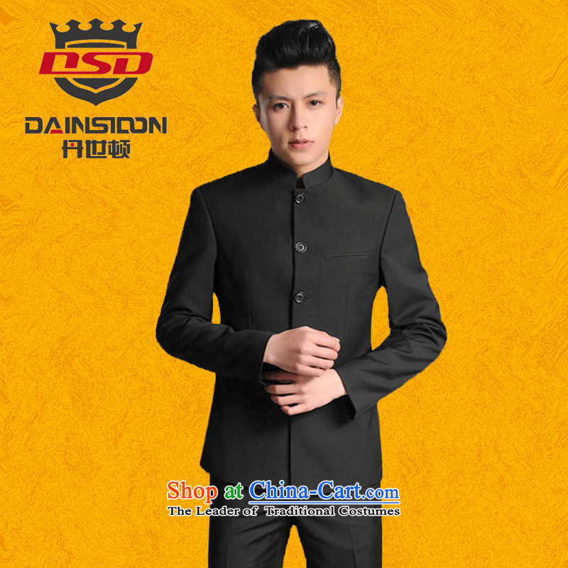 Dan _聽DAINSIDON SE_ autumn and winter Men's Mock-Neck Chinese tunic stylish Chinese Tang dynasty Chinese students national youth with the bridegroom marriage suits black Chinese tunic聽L