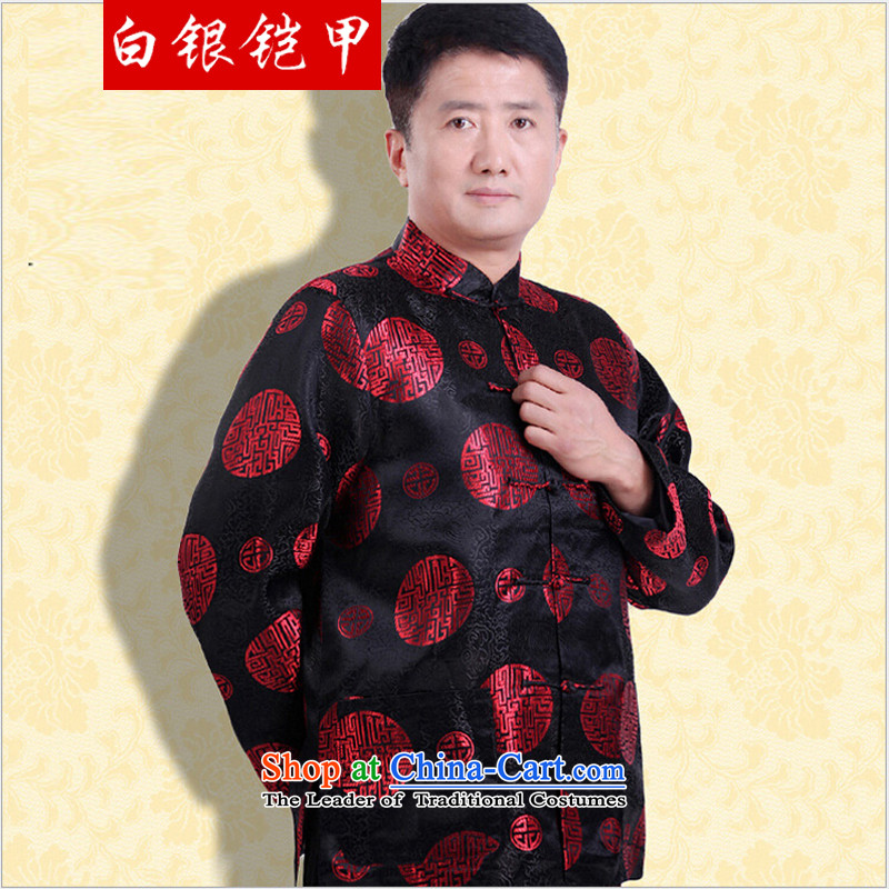 Silver armor in older men Tang Dynasty Large_ thin Male Male Male spring loaded Tang winter coats older persons Shou Tang-pack Black�L