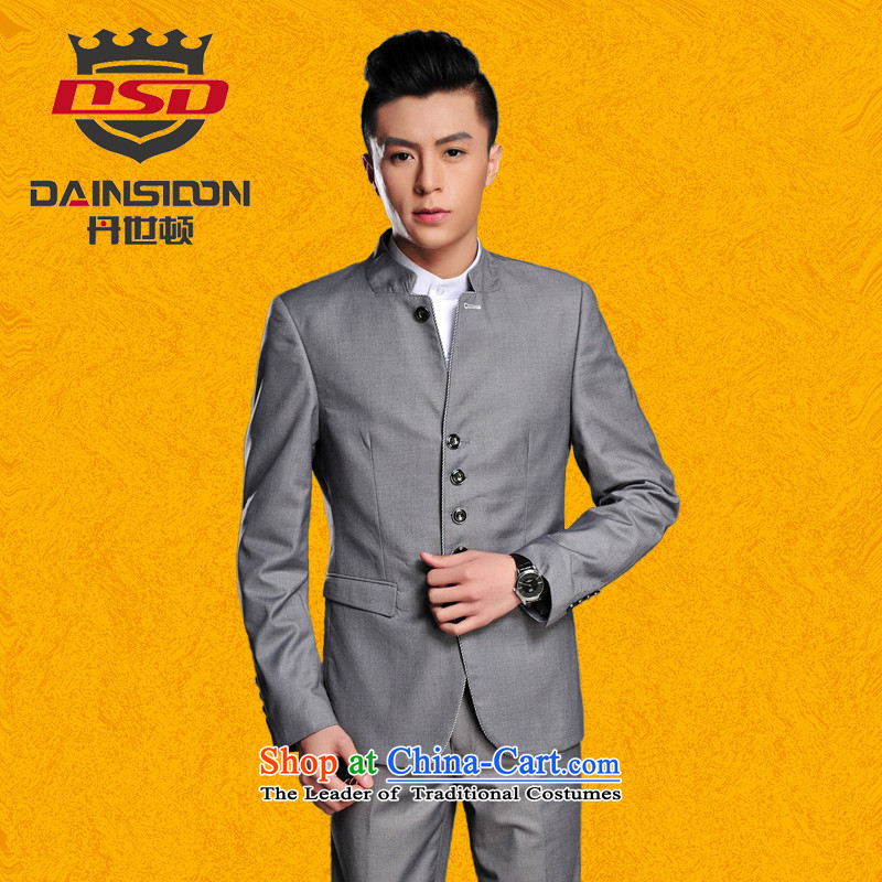Dan (SE?) Chinese men DAINSIDON Mock-neck Chinese tunic Chinese students with young people with Chinese tunic suit the bridegroom marriage kit gray inserts Zhongshan suit?XL