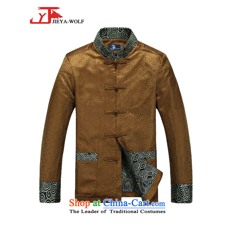 - Wolf JEYA-WOLF2015, New Tang Dynasty Men's Shirt, autumn and winter coats of men national leisure China wind emulation, golden�0_XL silk
