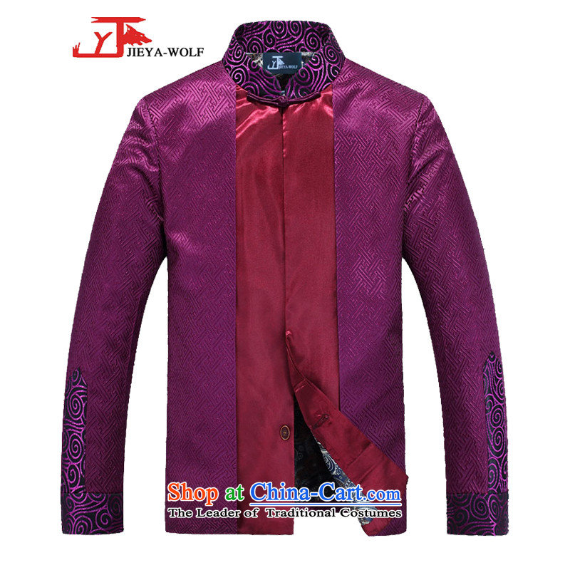 - Wolf JEYA-WOLF, 2015 New Tang Dynasty Men's Shirt, autumn and winter jackets with leisure silk shawls, purple�5_S