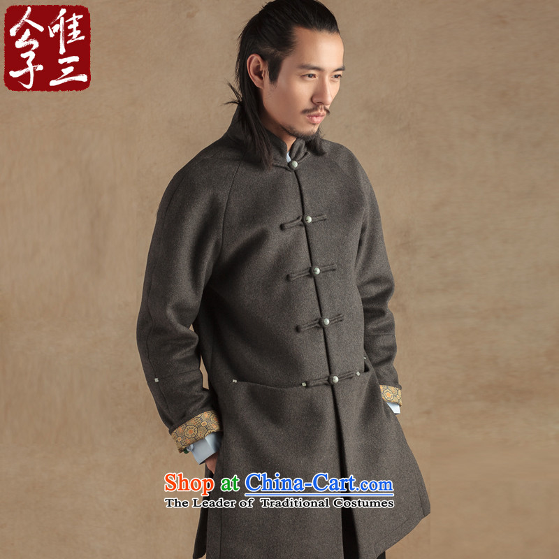 Cd 3 Model China wind-Yuk Tak Jade detained five Tang Dynasty Men long wool coat ethnic Han-? winter gray jumbo XL