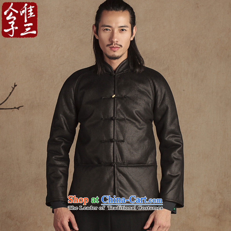 Cd 3 Model China wind devils leather garments robe Chinese Disc detained men Tang dynasty fur coat thickness one winter Black XL giant Sau San