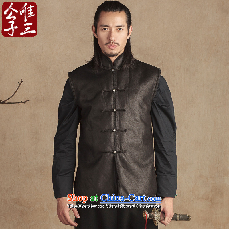 Cd 3 China wind men national leather garments cotton, a silver-plated tray snap autumn and winter Sau San Chinese Tang dynasty improved thick black jumbo XL