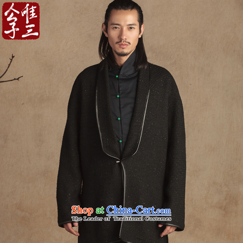 Cd 3 Model Galllantry China wind wool? Long mantle gowns copper clip jacket Tang Dynasty Han-hyun thick autumn and winter in Black and Silver silk jumbo XL