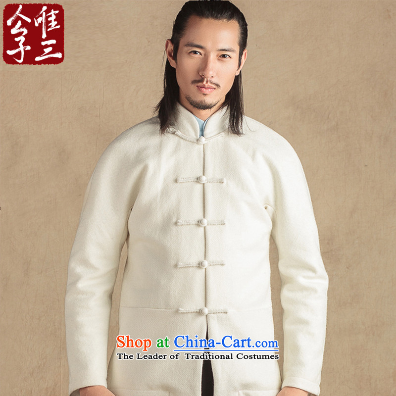Cd 3 China wind is Arabic wool a Tang Dynasty Chinese male national dress coats and stylish casual jacket winter Bluetooth big white (L)