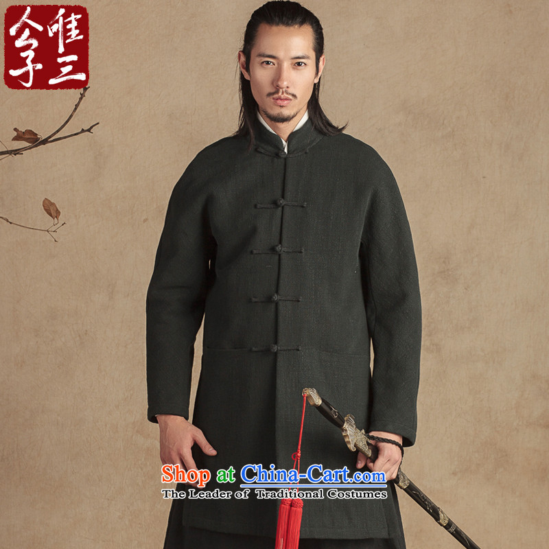 Cd 3 Model Jing Ke China Wind netbook sleeve cotton wool linen Tang dynasty male national linen coat of Tang Dynasty winter new small dark green _S_