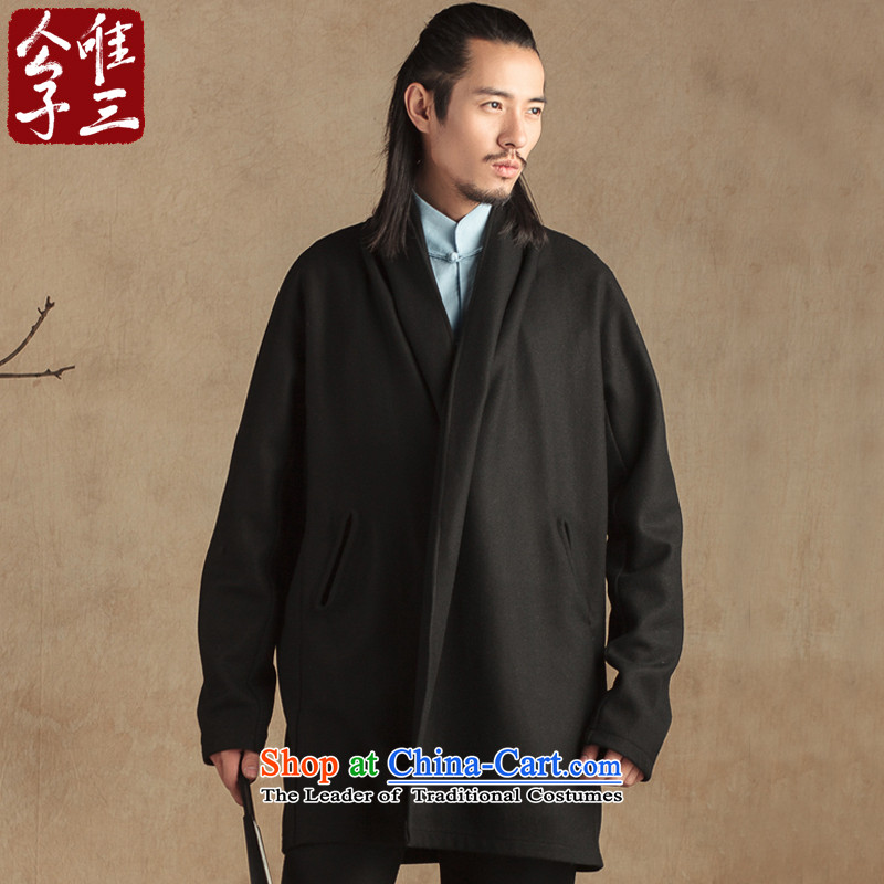 Third, China who were only wool? Long frock coat Tang jackets gowns Chinese Han-thick black fuyuo (M)