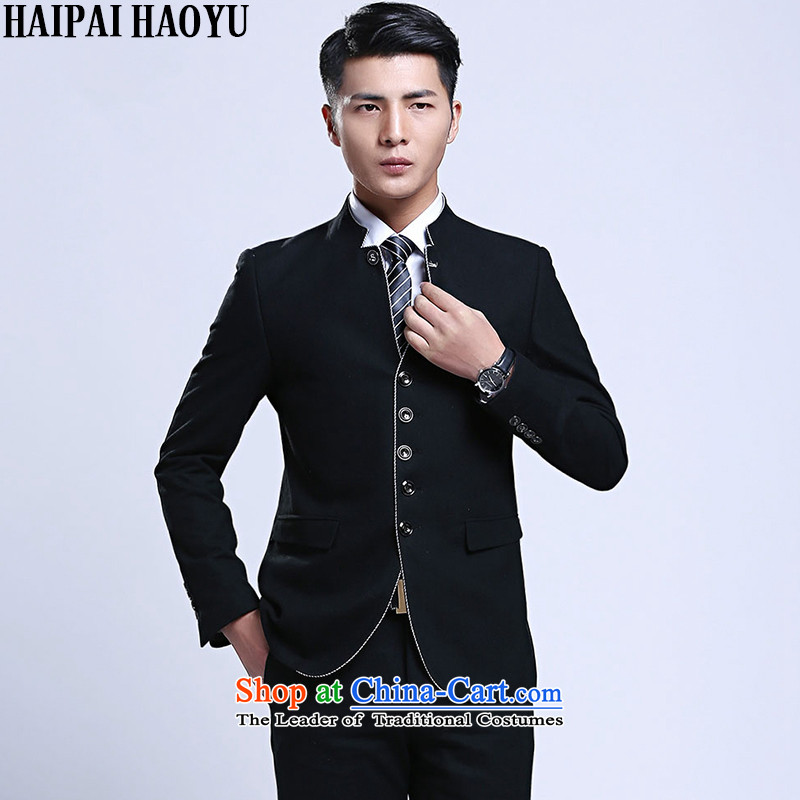?Tang Dynasty Chinese tunic HAIPAIHAOYU Han-men and chinese collar suits stylish suits Korea Edition Sau San core black?shirt 170 flows 31 trousers