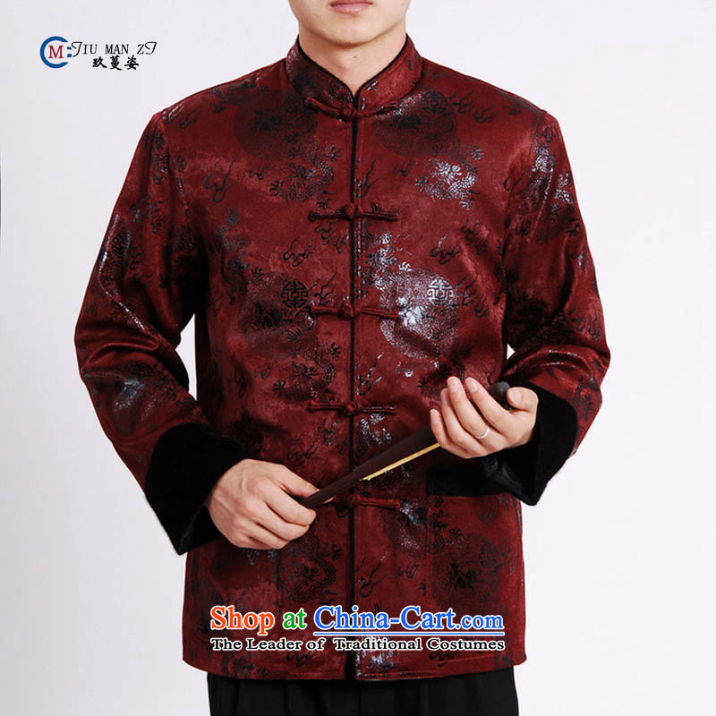 Ko Yo Overgrown Tomb Gigi Lai 2015 autumn and winter middle-aged men's father made birthday Tang Dynasty Show transfer flat, lint-free cloth water Sable Hair and trendy larger M0038 棉衣 M0038-A XXL