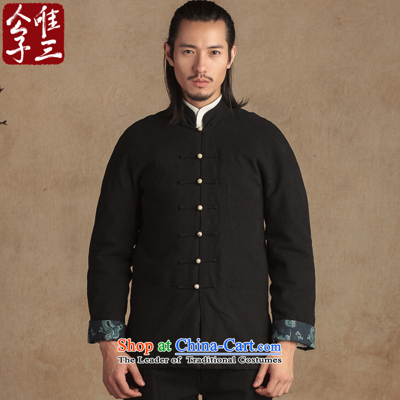 Cd 3 Model China wind bodhi-linen coat Tang dynasty male national costumes thick Han-autumn and winter coats thick Hyun triad _L_