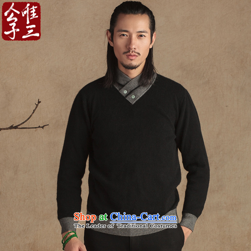 Cd 3 China wind stingrays fluff Yi Tang dynasty improved ties Jade Chinese Young Men's National Winter Sweater thickened Sau San Black Large _L_