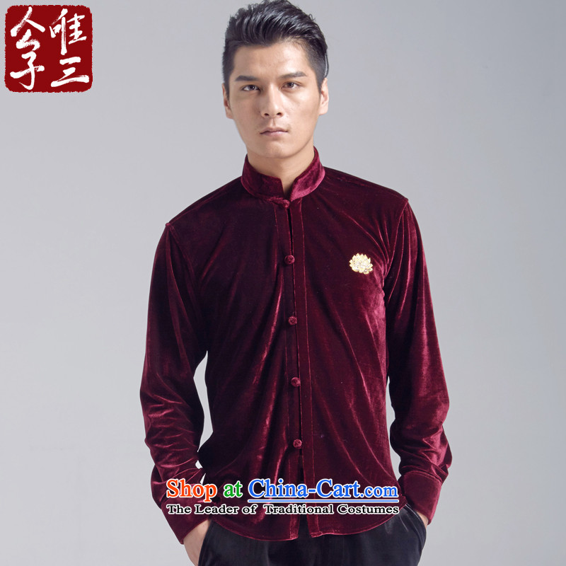 Cd 3 China wind Kam Lotus scouring pads Mock-neck retreat casual shirt, man Yi Tang Dynasty Chinese Youth Shirts, wine red light (S)