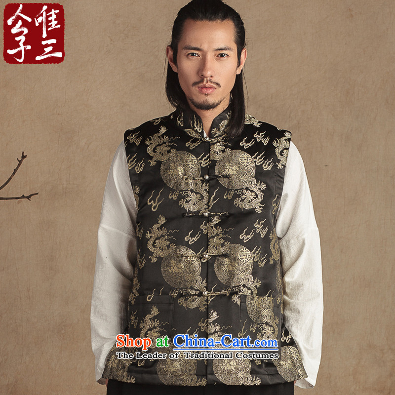 Cd 3 China wind Fu Lu Tang dynasty tapestries, a boy of the Sau San cotton Chinese national improved stylish ma folder winter thick black ground Kim Yong-dae _L_
