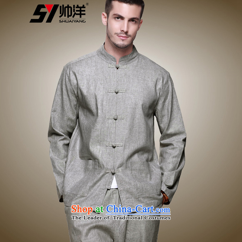 Shuai 2015 new products fall ocean replacing men linen Tang Dynasty Chinese long-sleeved Long Pants Shirts in China wind Tang Dynasty Chinese tunic retro clothing male Han-men and a long-sleeved gray _ma long pants_ 40_170