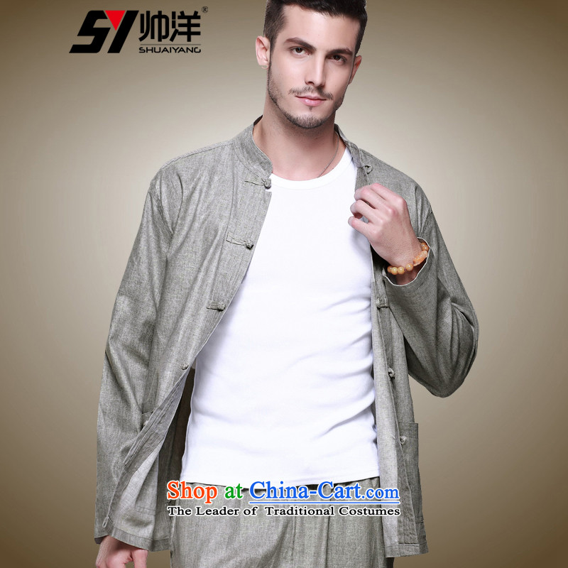 Shuai 2015 Ocean linen men's shirts in Tang Dynasty Chinese clothing is detained men's shirts national costumes and long-sleeved shirt single layer package jacket China wind collar men Ma Tei (Single T-shirts are gray) 41/175