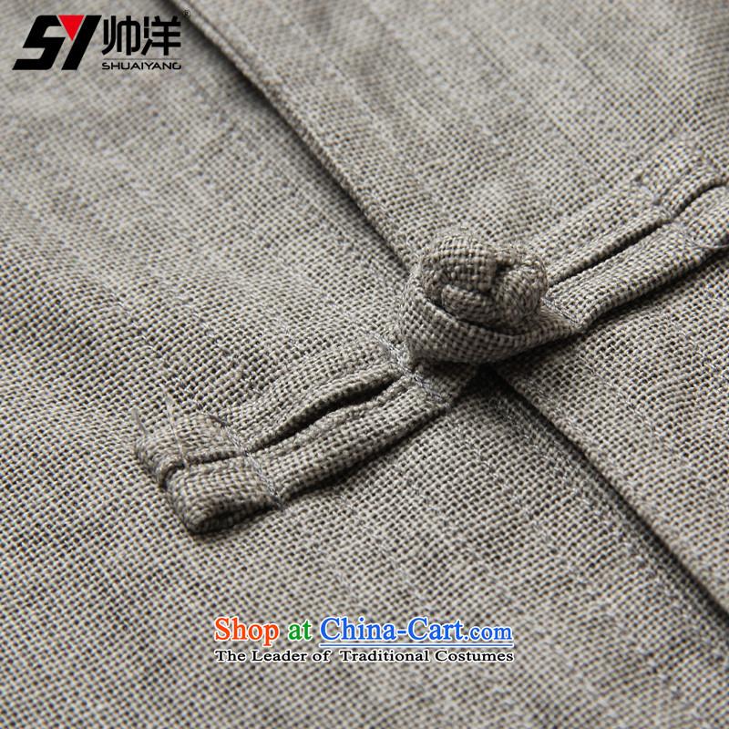 Shuai 2015 Ocean linen men's shirts in Tang Dynasty Chinese clothing is detained men's shirts national costumes and long-sleeved shirt single layer package jacket China wind collar men Ma Tei (Single T-shirts are gray) 41/175, Shuai Yang (SHUAIYANG) , , ,