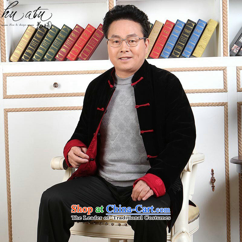 In the Tang dynasty older men Wearing Tang Dynasty duplex scouring pads of autumn and winter coats father boxed long-sleeved made wedding Tang Gown - 1 black red double-sided wear XL, floral shopping on the Internet has been pressed.