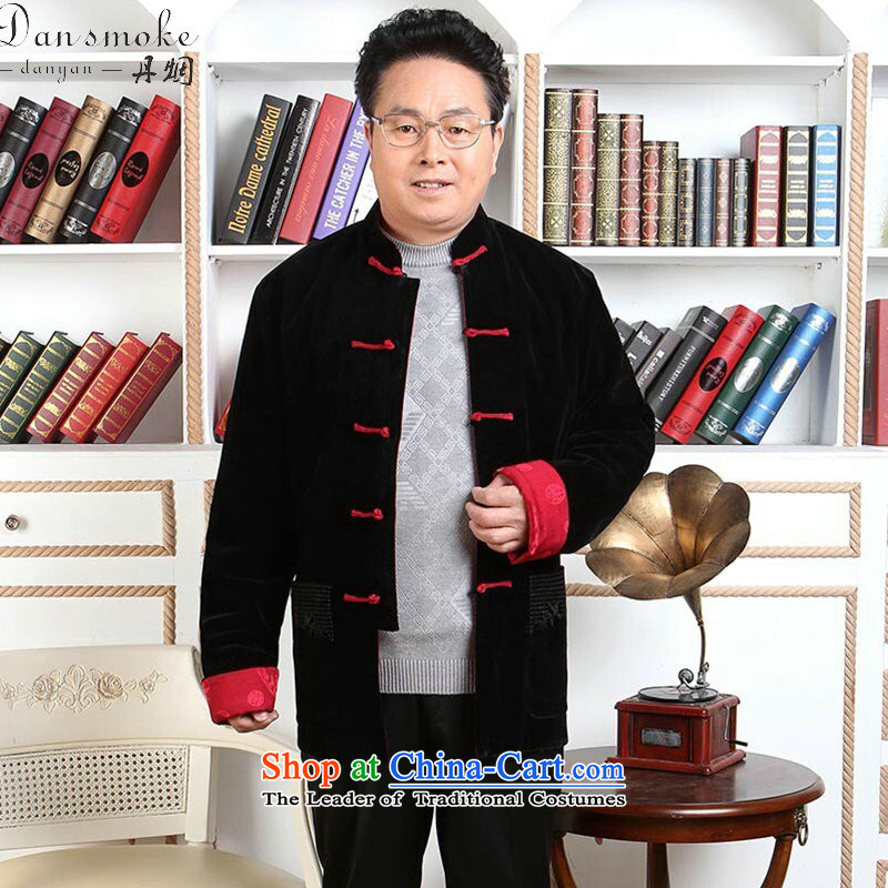 Dan smoke. older men Tang dynasty wool double-sided Tang dynasty through the autumn and winter coats father boxed long-sleeved made wedding Tang Gown?- 1?black red double-sided wear?3XL