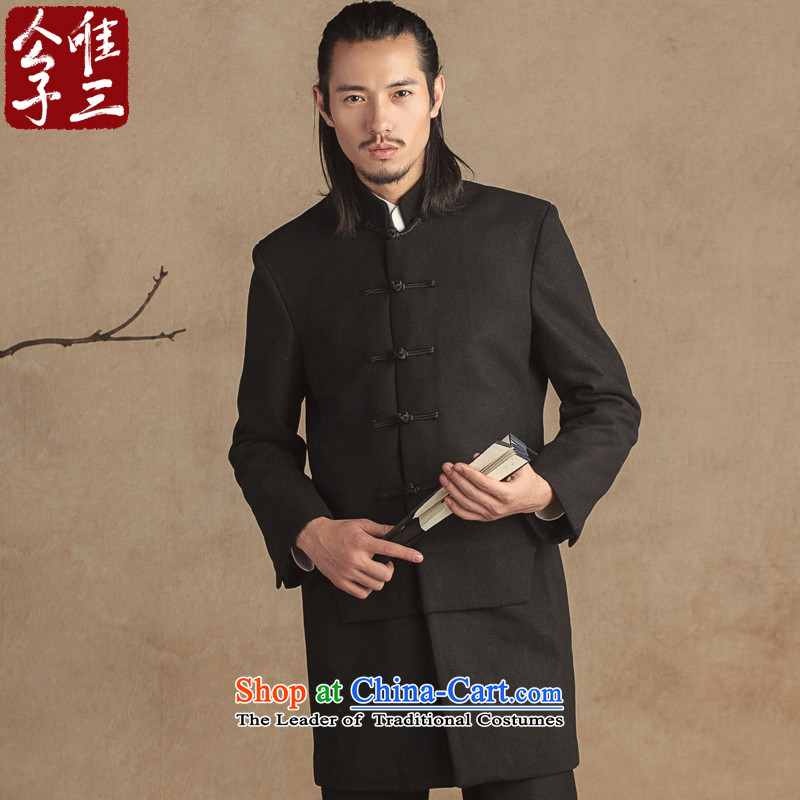 Cd 3 Model China wind positive definite coats collar wool coat man? Tang Dynasty Chinese men fall/winter coats, Hyun Ju XL Black