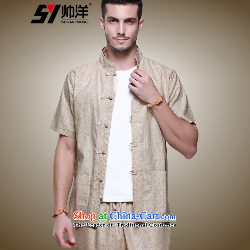 Yohei Kono New Products Linen handsome man Tang Dynasty Package China wind short-sleeved pants summer load tray clip collar manually retro Chinese national costumes m Yellow (short sleeves and long pants) 39/165
