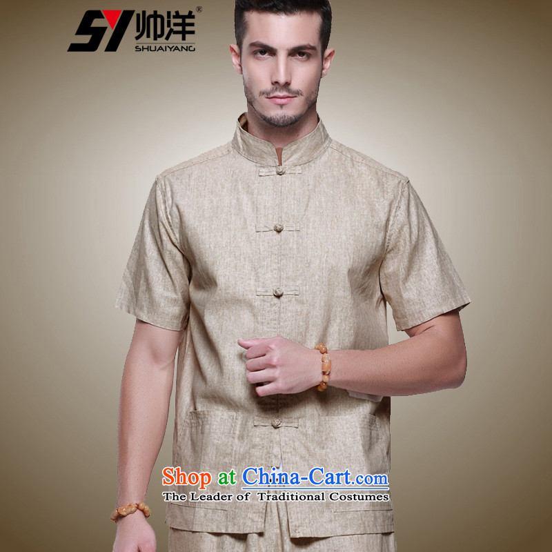 The new 2015 Yang Shuai linen men Tang dynasty short-sleeved shirt Chinese clothing summer China wind up charge-back collar manually shirts and beige short-sleeved T-shirt _40_170_
