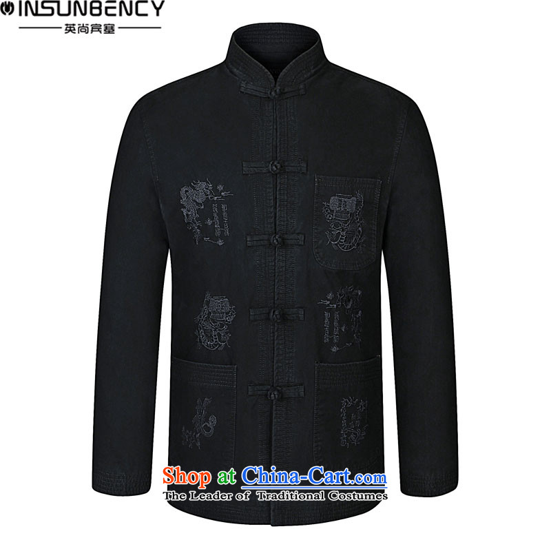 Hidenao Spencer Spring New elderly men for both business and leisure Tang dynasty embroidery collar larger jacket Z03 Black?180