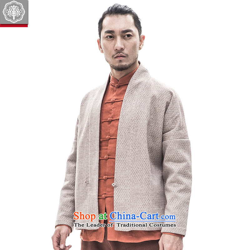 To Tree China wind male Han-to-thick cotton linen long-sleeved sweater winter Chinese men ball-Tang dynasty services aloeswood color giant