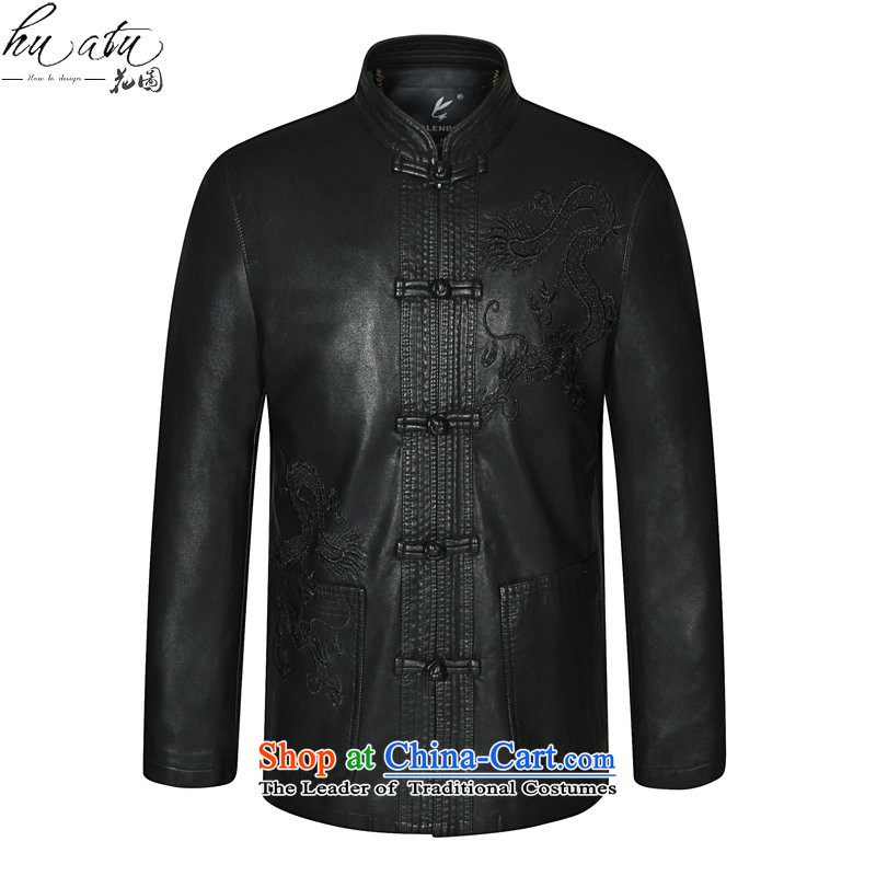 It through the spring and fall in new elderly men's leather garments Tang dynasty father loaded collar Tang Dynasty Chinese tunic fur Black?180