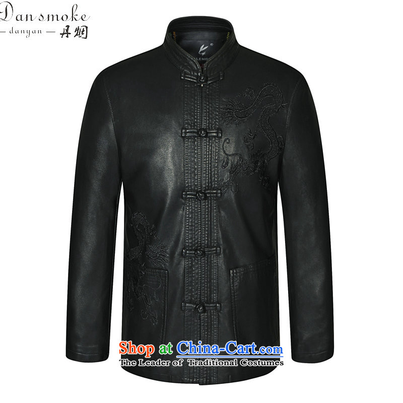 Dan smoke spring and fall in the new elderly men's leather garments Tang dynasty father loaded collar Tang Dynasty Chinese tunic black leather garments聽180