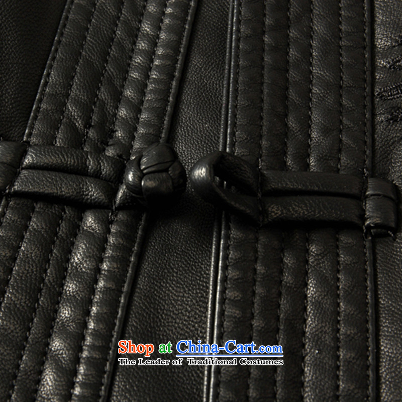 Dan smoke spring and fall in the new elderly men's leather garments Tang dynasty father loaded collar Tang Dynasty Chinese tunic leather garments blacksmoke Dan 180, , , , shopping on the Internet