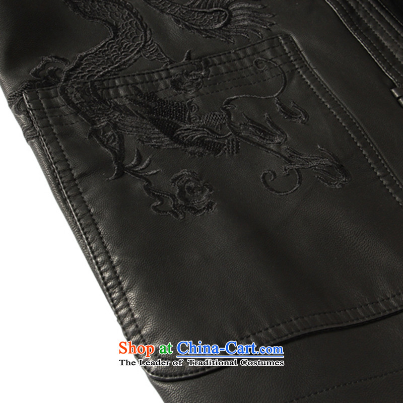 Dan smoke spring and fall in the new elderly men's leather garments Tang dynasty father loaded collar Tang Dynasty Chinese tunic leather garments black smoke Dan 180, , , , shopping on the Internet