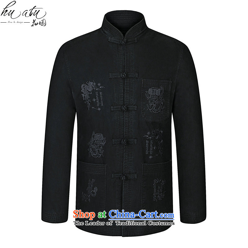 It during the Spring and Autumn in New Elderly Men's Mock-Neck Tang dynasty modern pure cotton China wind load dad embroidery Tang jackets Black聽185