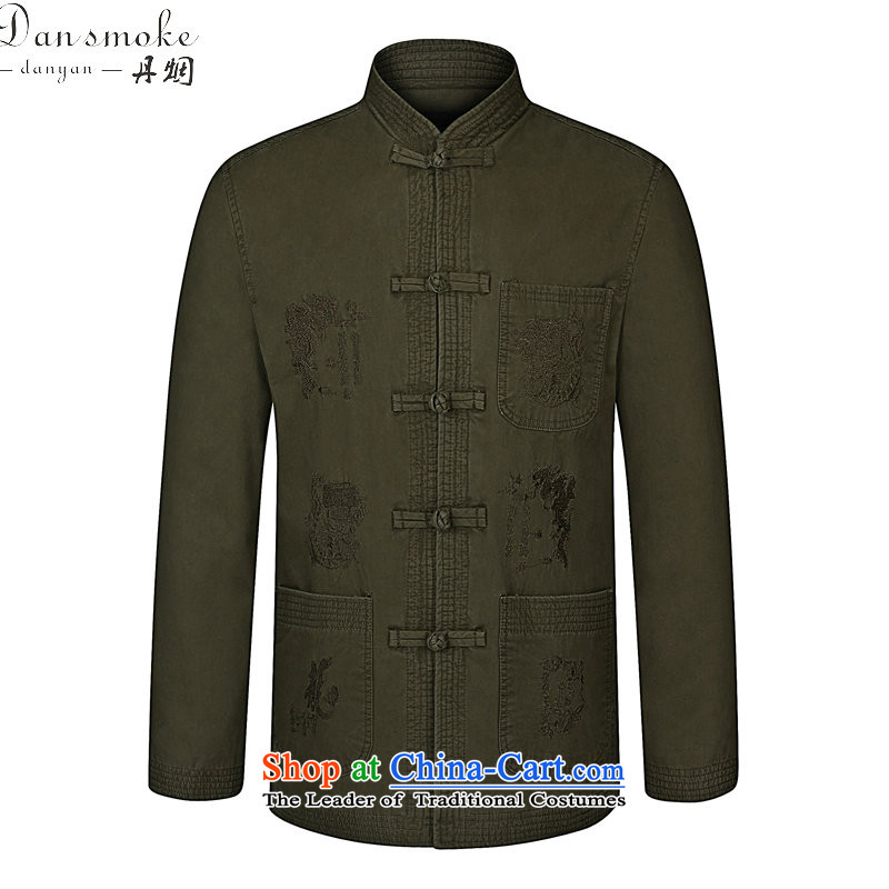 Dan smoke during the Spring and Autumn in New Elderly Men's Mock-Neck Tang dynasty modern pure cotton China wind load dad embroidery Tang jacket khaki聽185