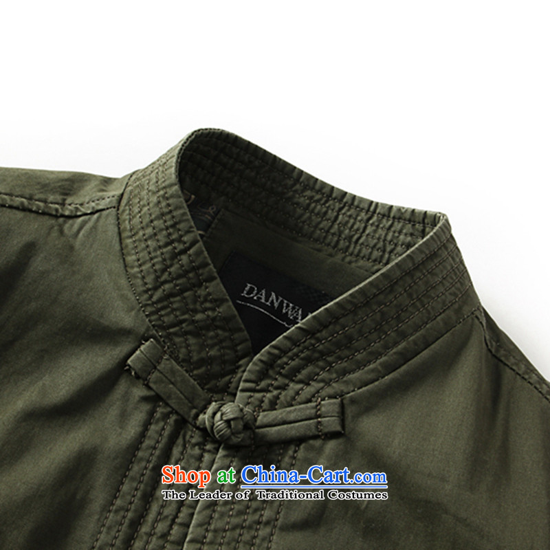 Dan smoke during the Spring and Autumn in New Elderly Men's Mock-Neck Tang dynasty modern pure cotton China wind load dad embroidery Tang jacket khaki聽185, Dan Smoke , , , shopping on the Internet