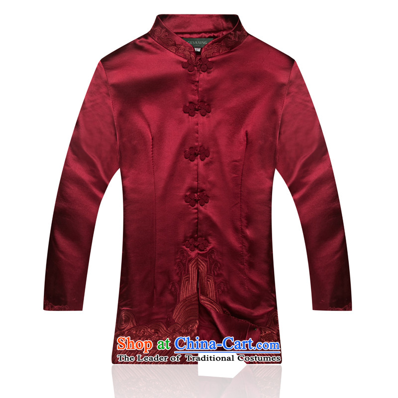 0899 New elegant woman, Ms. Tang Dynasty Fall_Winter Collections Of Chinese elderly mother blouses jacket improved temperament red燲XL