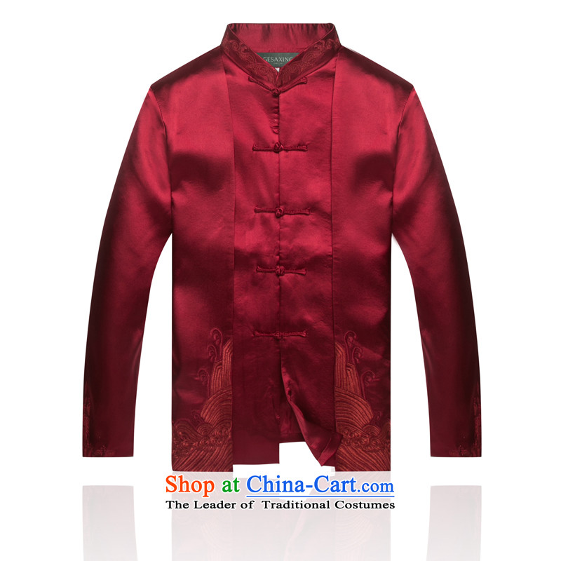 Tang Dynasty 7,712 autumn and winter New China wind male APEC Chinese clothing Men's Mock-Neck Han-Chinese wine red?L/175