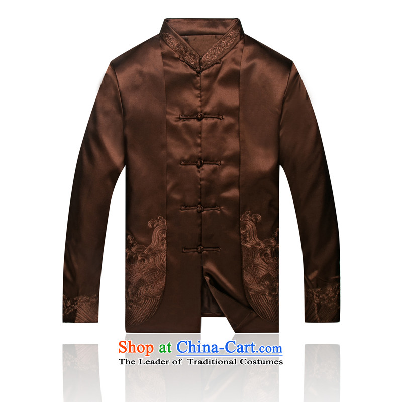 7766 Men's Jackets APEC Load New Men Tang Dynasty Chinese dress with shirts of autumn and winter clothing S/165 Brown